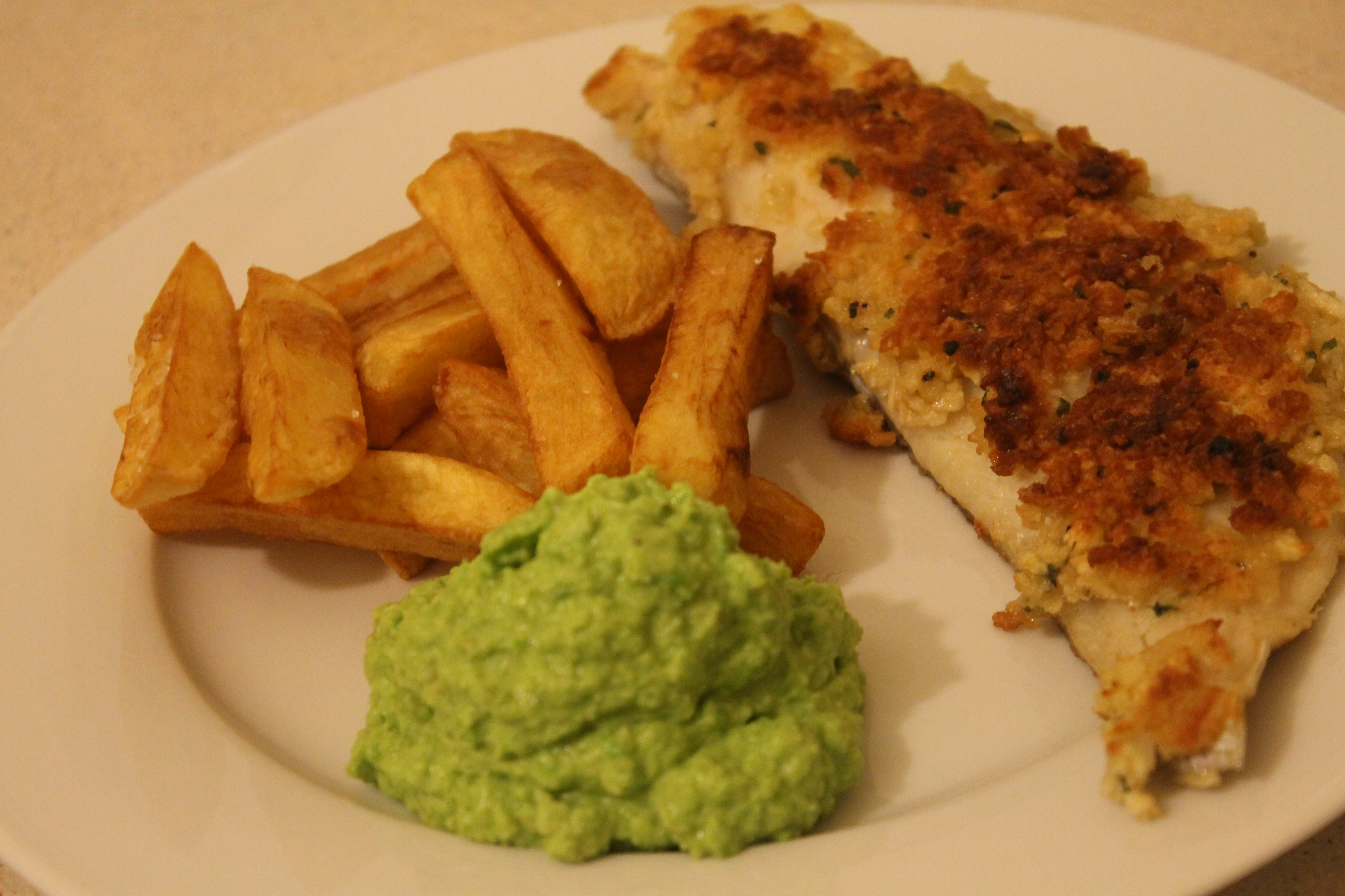 Homemade fish and chips with mushy peas thehungrylinguists for Fish chips